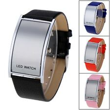 Unisex Men LED Digital Date Watch Leather Strap Stainless Steel Wristwatch CaF8