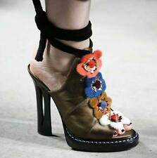 Fashion Womens Leather Flower Decor Lace Up Block High Heel Sandals Ladies Shoes
