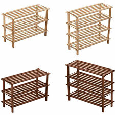 2/3/4 TIER WOODEN SLATTED SHOE RACK STAND ORGANISER STORAGE WOOD SHELF UNIT NEW