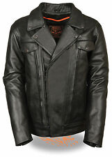 Mens Black Leather Motorcycle Jacket Long Sleeve Button Collar Utility Pockets