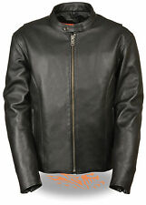 Mens Classic Black Leather Scooter Jacket w Side Zippers and Dual Gun Pockets