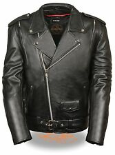Mens Black Classic Leather Motorcycle Jacket w Side Lace and Vents, Gun Pockets