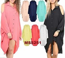 Ladies Womens Button Hi Lo Long Sleeve Collared cut shoulderChiffon Shirt Dress