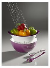 Omada Nesting Acrylic Salad Serving Bowl Set with Colander and Serving Spoons