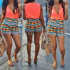 Women Summer Sleeveless V Neck Floral Romper Casual Beach Jumpsuit Shorts Sexy