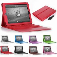 Bluetooth Wireless Keyboard With Stand Leather Case Cover For iPad 234 Mini123