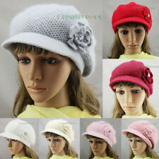 Women's  Brim 3D Flower Beanie Soft Visor Winter Wool Cap Snow Knit Hat Angora