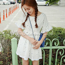 Fashion Korean Style Women Summer Floral Embroidery Ruffle Sleeves Mini Dress WT