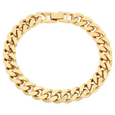 9mm Mens 14k Yellow Gold Plated/Layered/Plated Flat Cuban Link Curb Bracelet