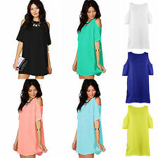 Sexy Womens Summer Chiffon Loose Dress Tunic Party Cocktail Club Porm Sundress