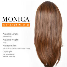 MONICA Synthetic Straight Hair Wigs 16 Inch Heat Resistant Lace Frontal Wigs