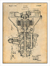 1927 Henry Ford Transmission Patent Print Art Drawing Poster 18X24