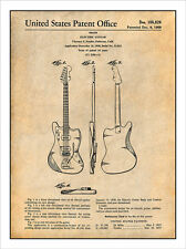 1958 Fender Electric Guitar Patent Print Art Drawing Poster 18X24