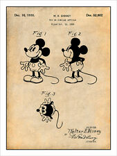 Walt Disney 1930 Mickey Mouse Patent Print Art Drawing Poster 18X24