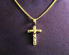 "MEN'S GOLD STYLE CROSS W/22"" LINK 18K YLW GOLD FILLED CHAIN"