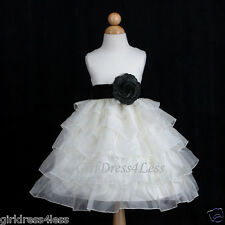 IVORY/BLACK TIERED ORGANZA PAGEANT WEDDING FLOWER GIRL DRESS 12M 18M 2 4 6 8 10
