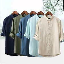 Men's T-Shirt Tunic Tang Casual Summer Kung Fu 3/4 Sleeve Linen Coat Tops AI