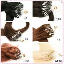 "18"" 20"" 22"" Loop Micro Ring Real Straight Human Hair Extensions 100 Strands"