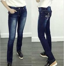 Womens Casual Pencil Embroidered Denim Skinny Jeans Stretch Pants Trousers Q154