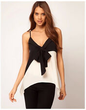 Womens Casual Bow Stitching Spaghetti Strap Contrast Colors T-Shirt Blouse Tops