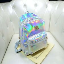 New Women Girl Fashion Hologram Holographic Backpack PU Leather School Tote Bag