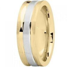 AWESOME 18K White and Yellow GOLD Two Tone 7mm MODERN Wedding Band RING new