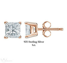 925 Sterling Silver Rose Gold Plated Princess Cut CZ Stud Earrings 1ct.