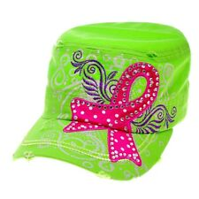 Breast Cancer Ribbon Theme Printed and Embroidered Vintage Finished Cadet Cap