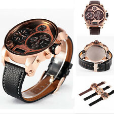 OULM Fashion Sport Casual Military 3 Multi Time Zone LED Display Wrist Watch