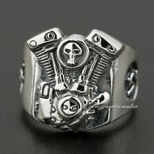 925 Sterling Silver V2 Skull Motorcycle Engine Mens Biker Ring 8Y009C UK P½~Z1