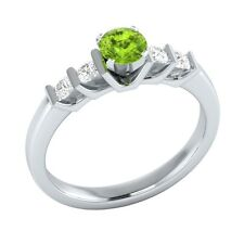 0.72 ct Real Green Peridot & Authentic Diamond Solid White Gold Engagement Ring