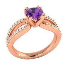 0.72 ct Real Purple Amethyst & Authentic Diamond Solid Rose Gold Engagement Ring