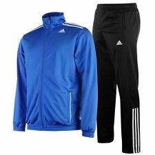 adidas 3 Stripe Entry Poly Tracksuit Mens Medium Blue/Black RRP £44.99