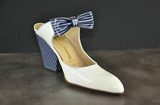 Vivienne Westwood Ivory patent leather sandals Blue Stripe Bow and Heels $455