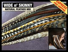 Natural Real Feather Hair Extensions 10 Grizzly Wide n'Skinny 2FREE Pk FREE SHIP