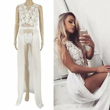 NEW Womens Clubwear Lace Playsuit Bodycon Party Jumpsuit Romper Dress Maxi Skirt