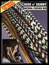 Feather Hair Extensions 10 Grizzly Natural Wide n' Skinny 2FREE Beads Tools Pack