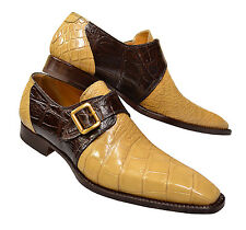 Mauri ITALY Gold/Brown Alligator Skin Monk Strap Pointed Dress Shoes