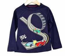 MINI BODEN Applique Racing Car Long Sleeve T Shirt Top Navy Blue Age Years 2 - 8
