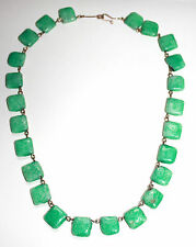 Peking glass mottled green square bead Art Deco necklace rolled gold links