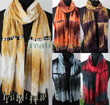 Women's Sequins Embroidery Flower Beads Tassel Crinkle Long Shawl/Infinity Scarf