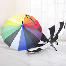 16K Sunshade Umbrella Black And White Stripe Pagoda Umbrella Rainbow Parasol