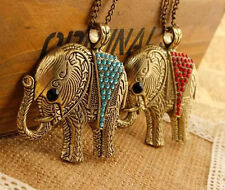 Retro Fashion Crystal Sweater Chain Elephant Necklace Colorful Pendant Chic Hot