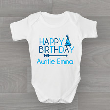 Personalised Happy Birthday Auntie Cute Baby Grow Body Suit Vest Boys