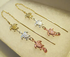 "18K 3 Tone GOLD Filled HEART TURTLE ELEPHANT Designs THREADER EARRINGS 2"" Long"