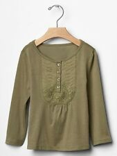 NWT babyGap Gap Girls Olive Crochet Bib LS Top Size 2 3 4 & 5