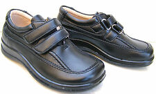 BOYS LEATHER LINED SHOES VELCRO FORMAL LIGHT SCHOOL SHOES TRAINERS UK NEW BLACK