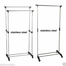 STAINLESS STEEL ADJUSTABLE HANGING CLOTHES RAIL SHOE RACK GARMENT SINGLE /DOUBLE