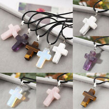 Natural Quartz Crystal Chakra Healing Gemstone Cross Necklace Pendant Stone Gift