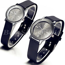 Casual Couple's Round Dial Quartz Watch Men Women Leather Band WristWatch Gifts